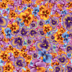 Decorative composition of viola flowers. Seamless background pattern #4
