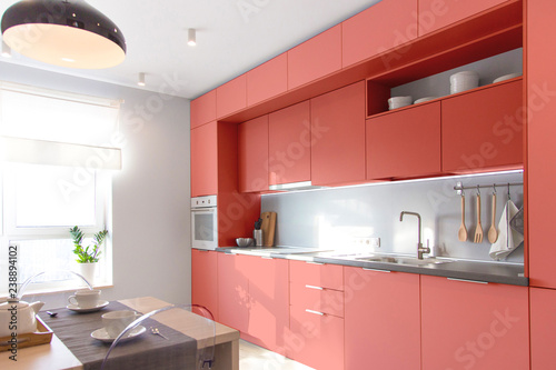 Kitchen Interior In Light Colors Scandinavian Style Color Of The