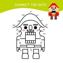 Educational Game For Kids. Dot To Dot Game For Children. Cartoon Nutcracker Toy .