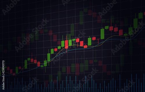Vector background with stock market candlesticks chart Fototapete