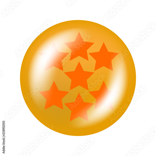 Photo  glossy ball with stars from one