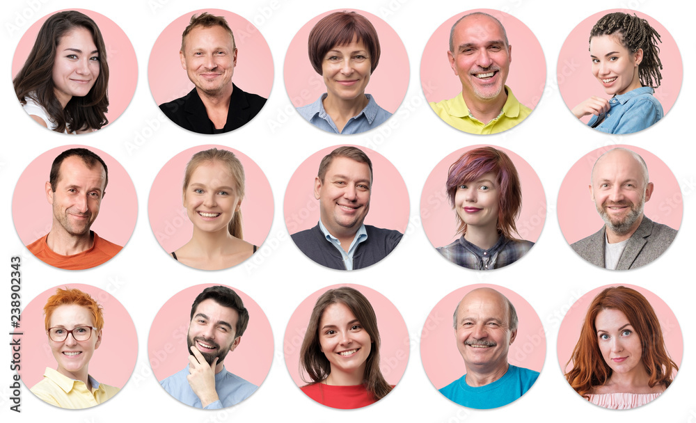 Fototapeta Collection of circle avatar of people. Young and senior men and women faces on pink color. Positive human emotion. Concept of divercity and individuality in modern community.