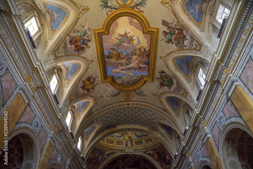 Photo ceiling decorated with fresco of the Amelia Duomo, Umbria, Italy