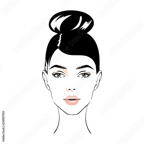 Illustration Of Women Bun Hair Style Icon Logo Women Face On White