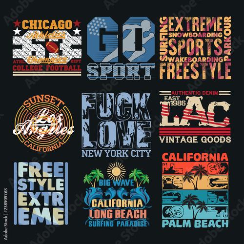 set sport typography, t-shirt  nyc, design graphic © dream_master