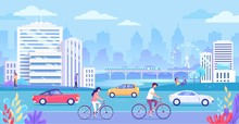 Cityscape Buildings And Transport Vector Illustration.