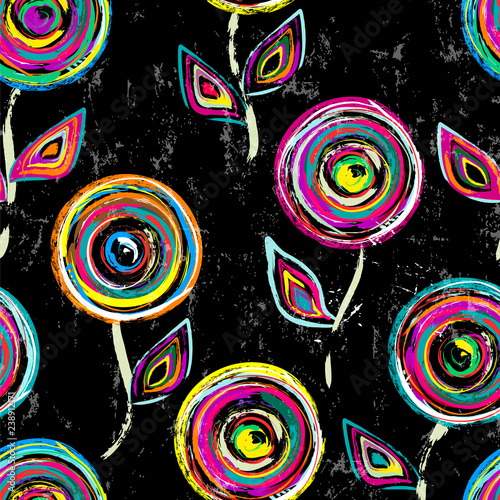 seamless abstract background pattern, with circles, strokes and splashes, on black, floral