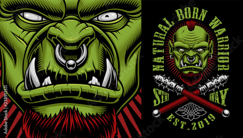 Fototapeta Vector illustration of an orc warrior with weapon obraz