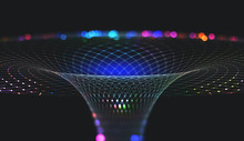 Abstract Nanostructure And Technologies Of The Future. Information Funnel. Global Network. Polygonal Light Grid. 3D Portal Illustration With Shallow Depth Of Field