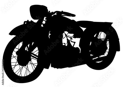 Canvas Print Old big bike on white background