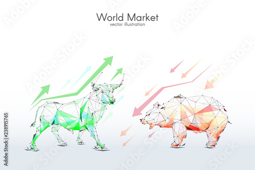 bull and bear stock Exchange low poly