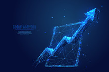 Arrow Up And PC Tablet Device Low Poly