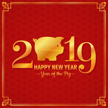 New Year 2019 Greeting Card With Pig.