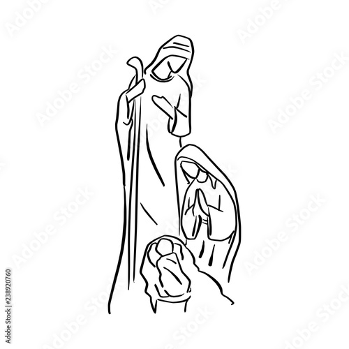 Obraz na plátně Nativity Scene of baby Jesus in manger with Mary and Joseph vector illustration sketch doodle hand drawn with black lines isolated on white background