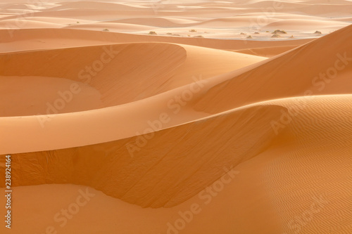 steep sand dunes  in desert in Morocco