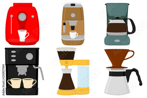 Illustration on theme big colored set different types coffee machine