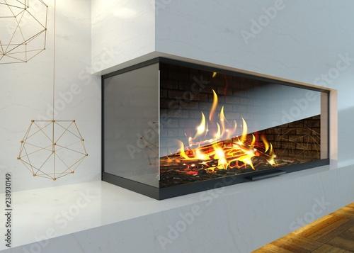 Fototapeta Modern glass corner fireplace in the interior