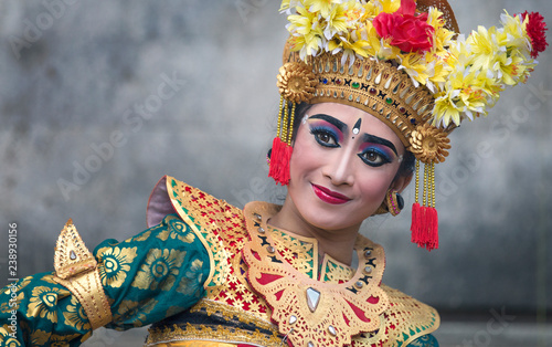 balinese legong dancer in traditional outfit and full make up Wallpaper Mural