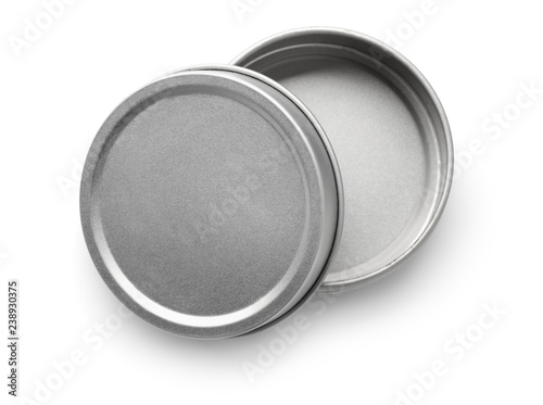 Stampa su Tela Top view of empty metal round container