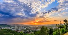 High Clouds At Sunset Over European City, Stuttgart