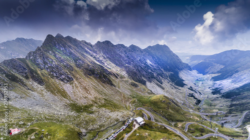 Aerial view from a drone about the Carpathians, in Romania Wallpaper Mural