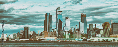 Obraz na plátne Hudson Yards skyscrapers and Manhattan skyline in New York City as seen from Jer