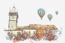 Illustration. Beautiful Historic Buildings With Red Tiles On The Roof And The Clock Tower On Square In Prague Standing Tightly To Each Other. Hot Air Balloons Are Flying In The Sky.