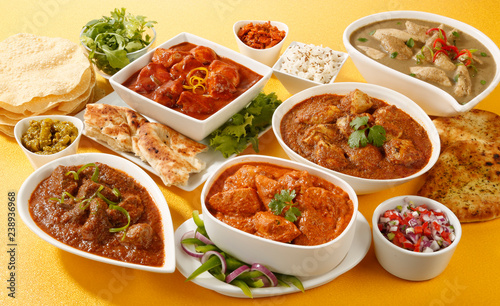 INDIAN CURRY SELECTION  CLOSE UP FOOD IMAGE Wallpaper Mural