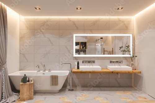 Fotografie, Obraz  Interior design of a bathroom, 3d illustration in a Scandinavian s