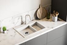 White Marble Kitchen Sink, Top...