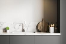 White Marble Kitchen Sink