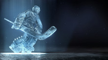 Translucent Ise Sculpture Of Ice Hockey Goalie In Dinamic Pose With Dramatic Light And Dust Particles In The Air. Hockey Legend, Competition, Winner Concept Background 3d Render.