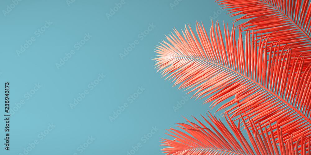 Fototapety, obrazy: Living Coral color of the Year 2019. Background with palm in trendy color