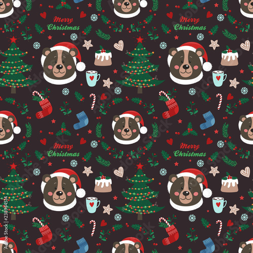 obraz dibond Seamless pattern with bear and Christmas items
