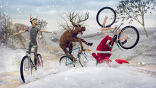 Funny Lame And Bad Santa Claus On Bicycle With Friend Reindeer On A Racing. Merry Christmas And Happy New Year. Saint Nicholas Day. Mannequin Challenge. 3D Rendering. Copy Space Champion Cup Concept.