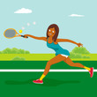 Young african american tennis girl on the tennis court. Dynamic movement