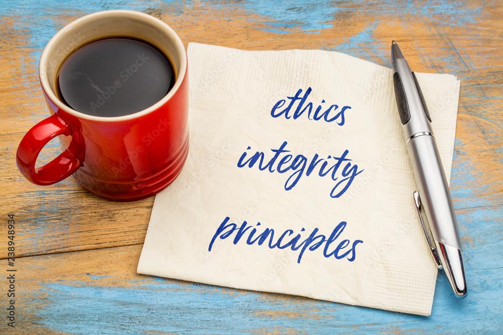 Fototapeta ethics, integrity and principles on napkin