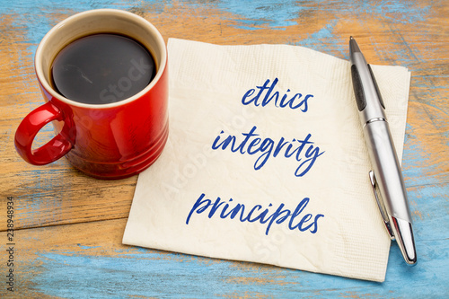 ethics, integrity and principles on napkin