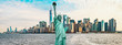 The Statue Of Liberty with Manhattan Downtown Skyline Panorama