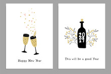 Set Of Happy New Year Greeting...
