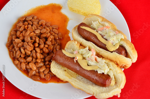 Fast Food Lunch Hot Dog sith Coleslaw and Pork n Beans Wallpaper Mural