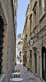 Fototapeta Scene - A small colorful street town of Dubrovnik, Croatia.
