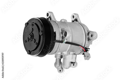 Fototapeta Car air conditioner compressor on a white background obraz