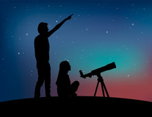 Silhouette Of A Couple Of People With Telescope On The Starry Sky Background. Man Points To The Sky