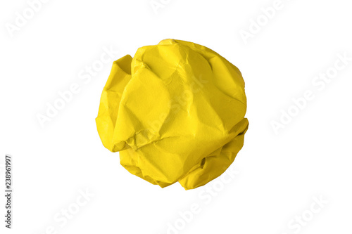 Fotografiet yellow crumpled paper isolated on white background
