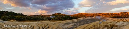 Deurstickers Oranje eclat Panorama of muddy volcanoes in Berca, Romania