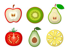 Vector Set Of Paper Cut Fruits And Vegetables, Cut Shapes. 3D Abstract Paper Art Style, Origami Concept Design, Food Packaging, Advertising, Detox, Cosmetics, Healthy Eating.