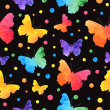 Colorful Watercolor Seamless Pattern With Cute Butterflies Isolated On Black Background. Eps10.