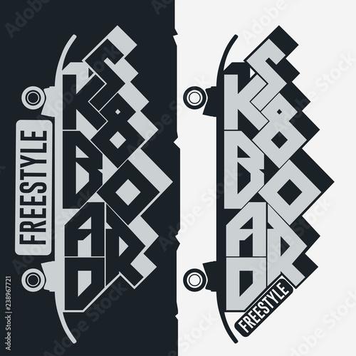 Skateboarding t-shirt, typography print emblem graphic design
