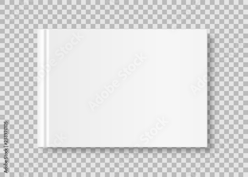 Fotografering  Horizontal closed book mock up isolated on transparent background